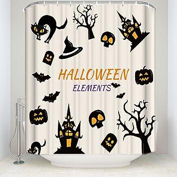 libaoge Halloween calabazas de elementos dibujos animados gatos y murciélagos fantasmas de calaveras castillos impresión moho libre tejido impermeable ...