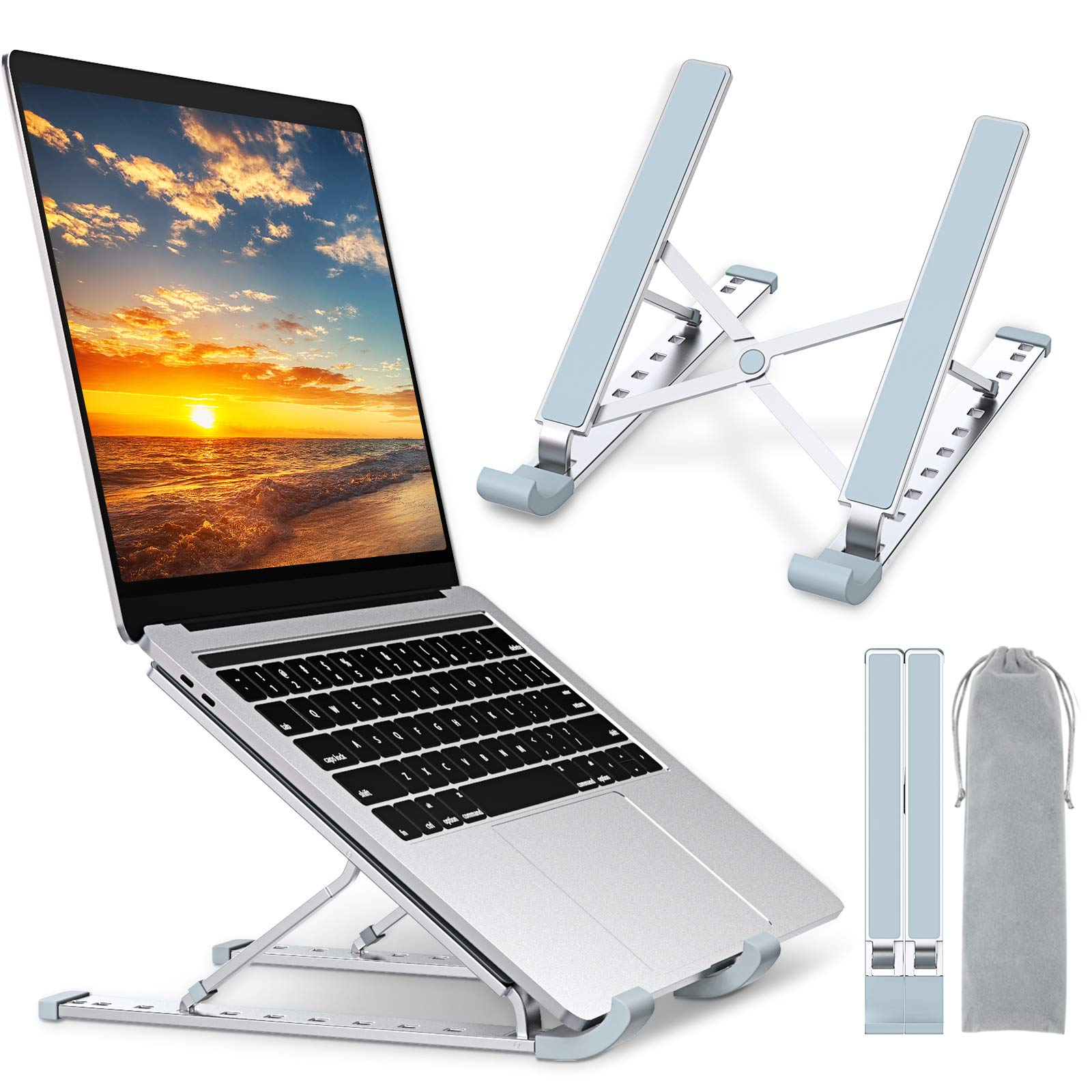 """Babacom Laptop Stand, Portable Laptop Cooling Desk Holder, 9-Levels Adjustable Notebook Riser Mount, Aluminum Ventilated Computer Stand, Compatible with MacBook Pro Air, iPad, Dell,10-15.6"""" Laptops"""