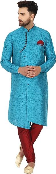 SKAVIJ Hommes Art Soie Kurta Pyjama Set Indien Ethnique Robe
