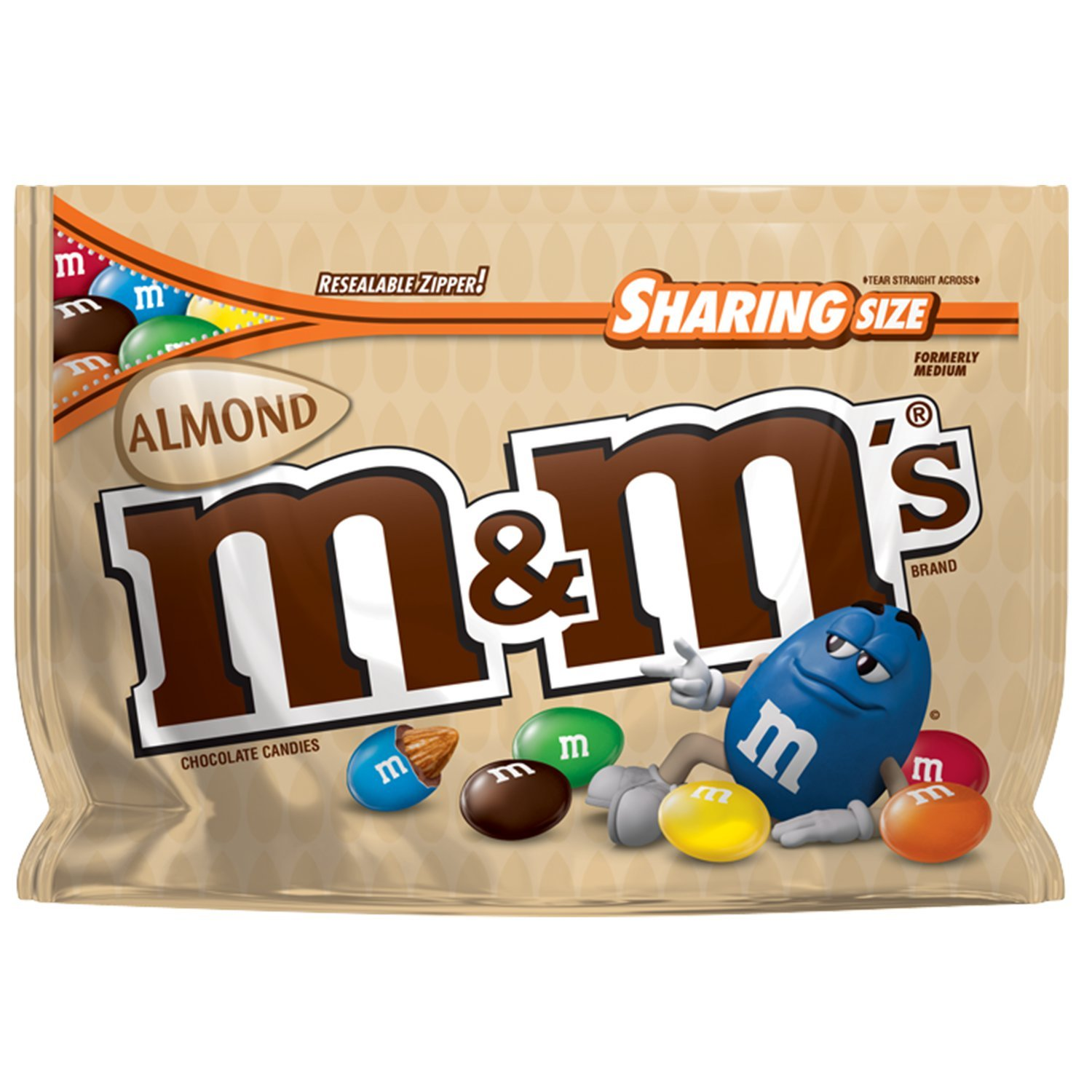 M&M'S Almond Chocolate Candy Sharing Size 9.3-Ounce Bag (Pack of 8)
