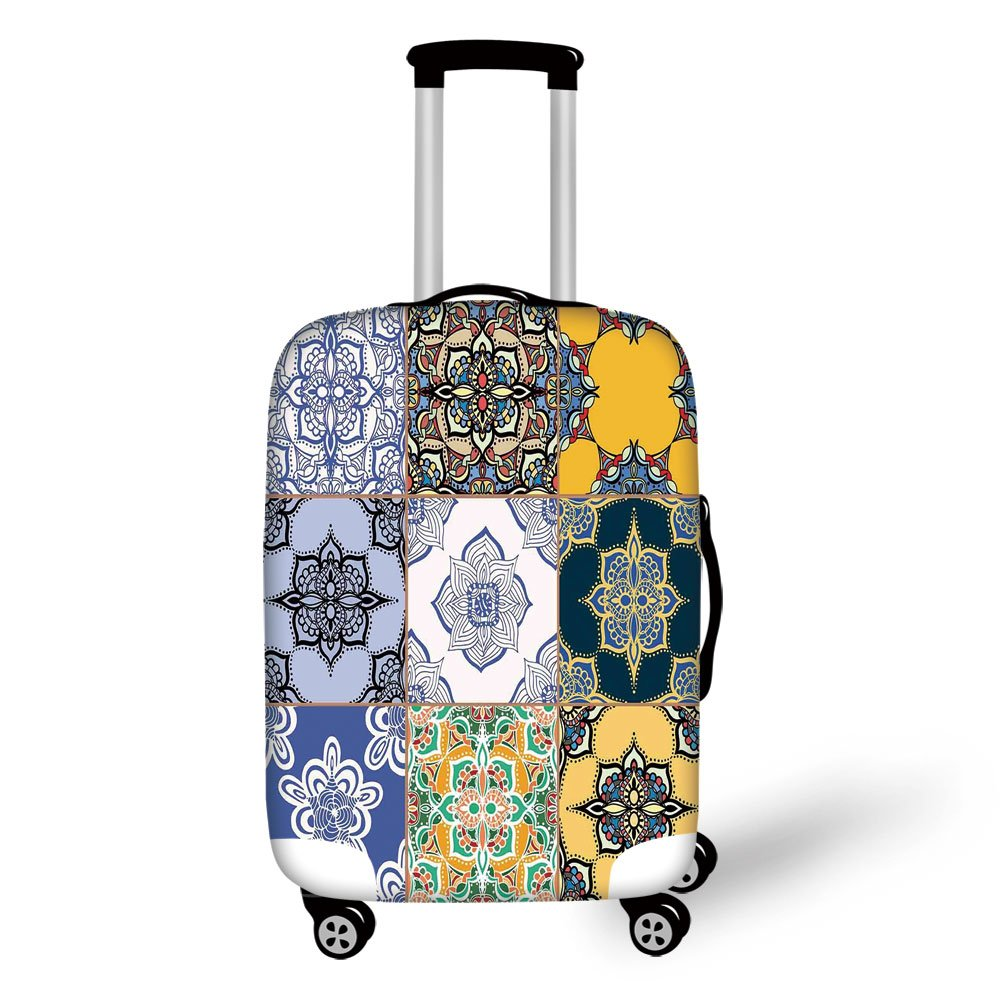 Travel Luggage Cover Suitcase Protector,Moroccan,Set of African and Portuguese Tile Patterns Various Tones and Textures Boho Print,Multicolor,for Travel