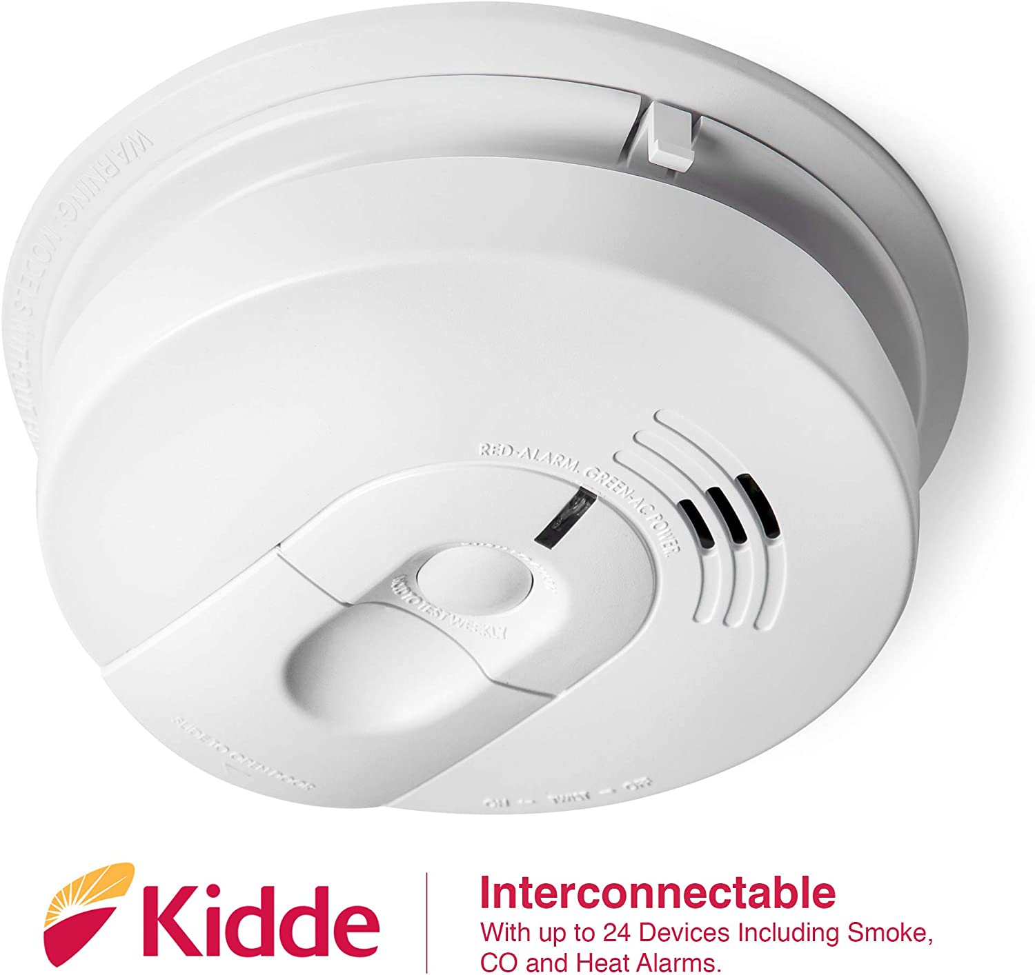 Kidde 21026063 AC Hardwired Smoke Detector Alarm with 9V Back up and Front Load Battery Door - -