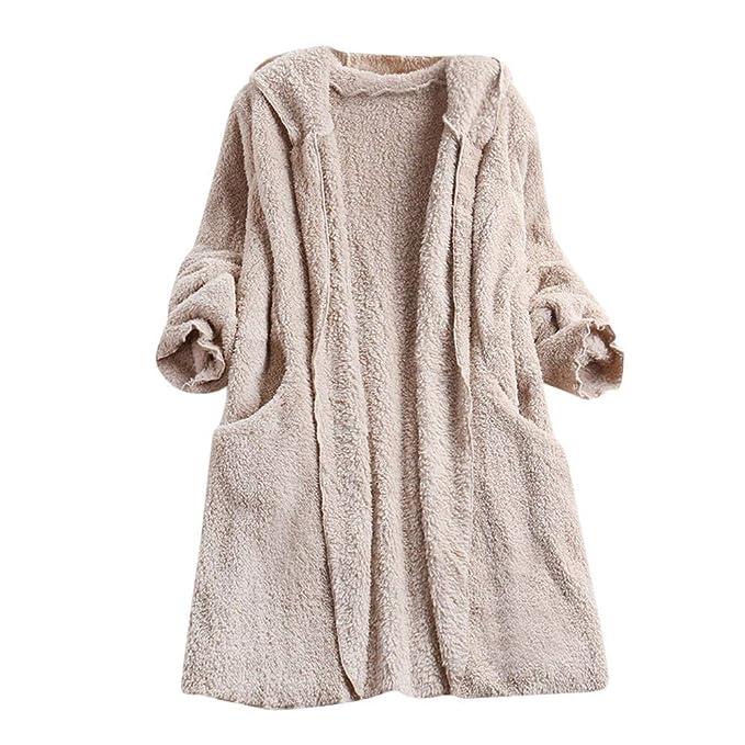 Chaqueta para Mujer,Modaworld Abrigo de Lana Artificial para Mujer Abrigo de Felpa de Las Mujeres Chaqueta Cardigan con Capucha Chaqueta de Bolsillo ...