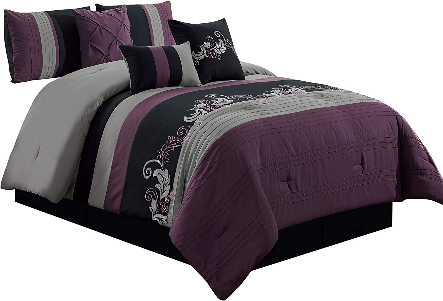 Chezmoi Collection Napa 7-Piece Luxury Leaves Scroll Embroidery Bedding Comforter Set (Queen, Purple/Gray/Black)