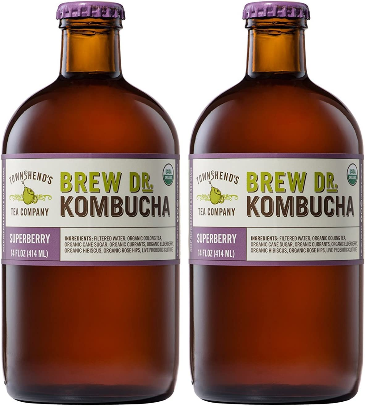 Brew Dr Superberry Raw Organic Kombucha (2 bottles)
