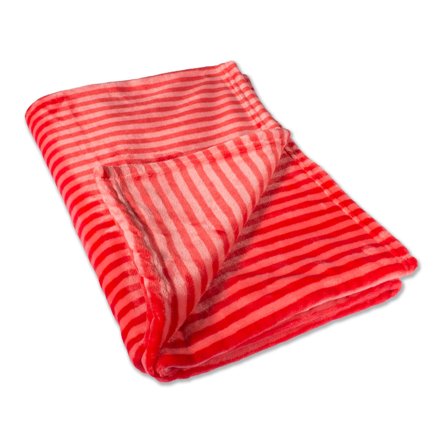 DII Super Soft Plush Flannel Fleece Stripe Blanket Throw for Chair, Couch, Picnic, Camping, Beach, Everyday Use, 36 x 48 - Red by DII