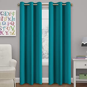 """Turquoize Teal Blackout Curtains Themal Insulated Grommet/Eyelet Top Window Treatment Nursery & Infant Care Panels Drapes, Each Panel 42"""" W x 84"""" L"""