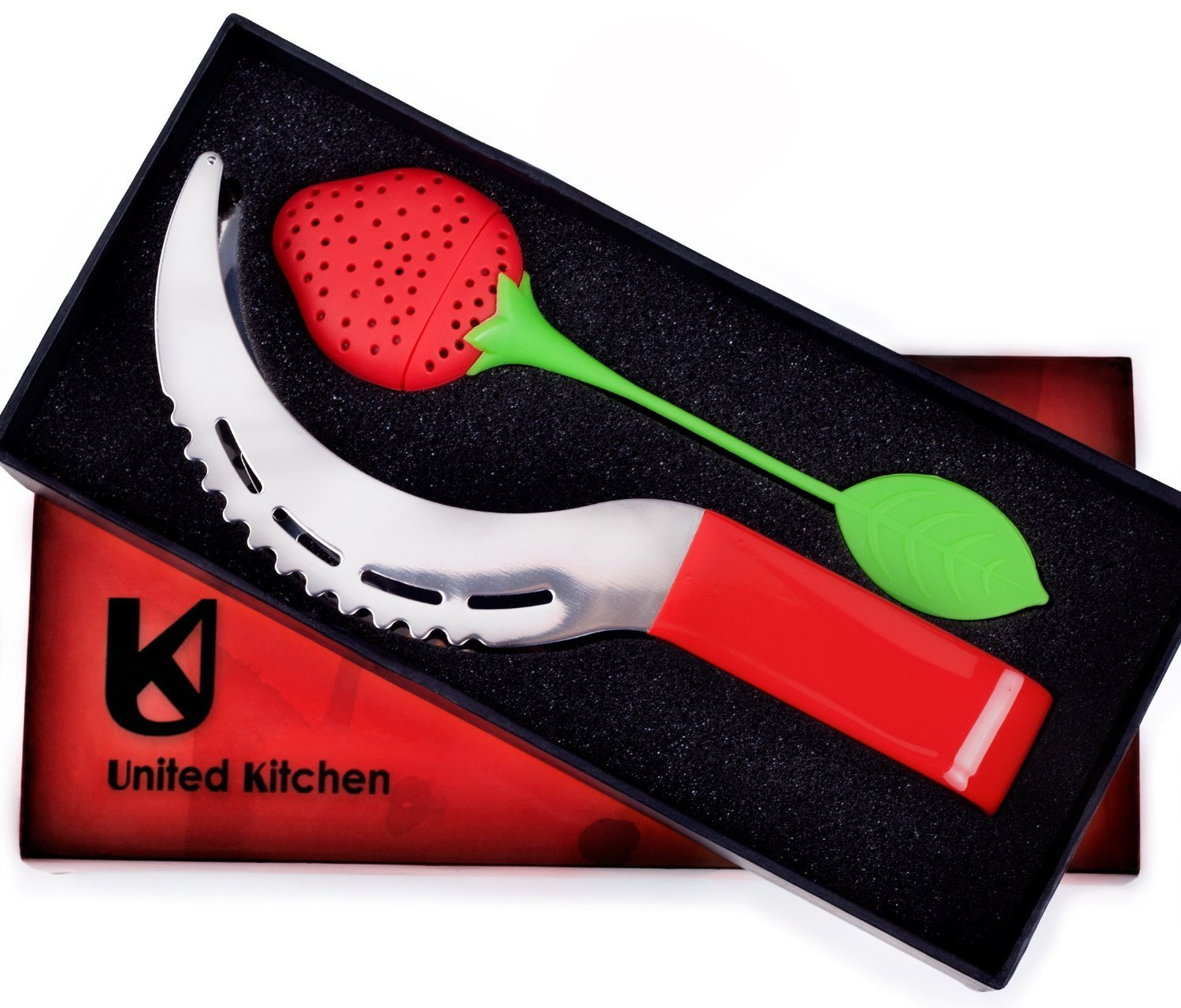 United kitchen's Watermelon Slicer & Tongs In A Gift Box With A Strawberry Style Tea Infuser! - As Seen on TV SYNCHKG086145