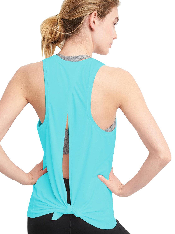 Bestisun Women's Backless Sexy Tshirt Back Split Short T Shirt Workout Casual Tank Top Medium Blue