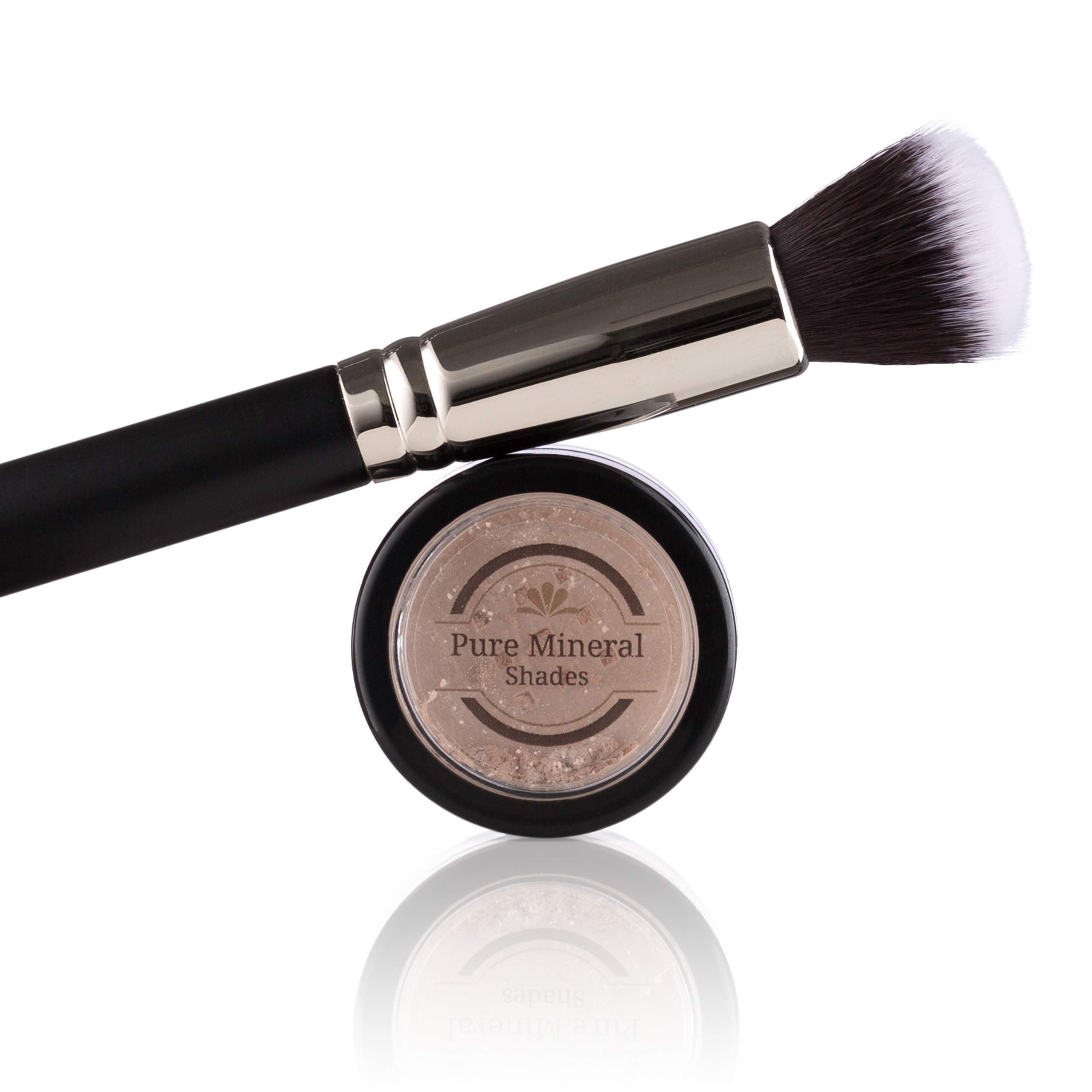 Mineral Highlighter Makeup by NuBeauti - Loose Powder With Brush Kit - Adds Natural Facial Contour - Highlighting Illuminator for Face and Body - Professional Sleek Results - Naked Glow 1.5 grams