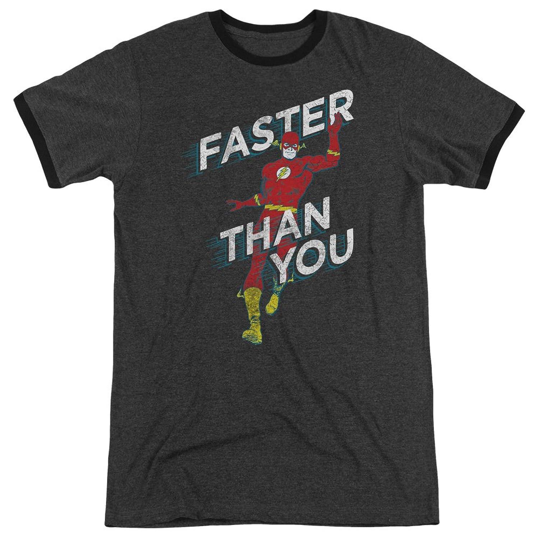 DC Comics Men's Faster Than You Ringer T-Shirt