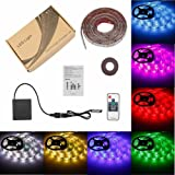 Bias LED Strip TV HDTV Light USB Battery Powered, RF Wireless Remote Control Indoor Background Lighting, Outdoor Decoration Accent Lights, 60 SMD 5050 RGB Lights with 3M Back Adhesive Tape, 6.56 Ft