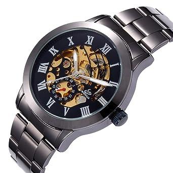 36638932d67 Relogio Masculino Mens Watches Luxury Retro Black Automatic Mechanical  Skeleton Watches Men Wrist Watch