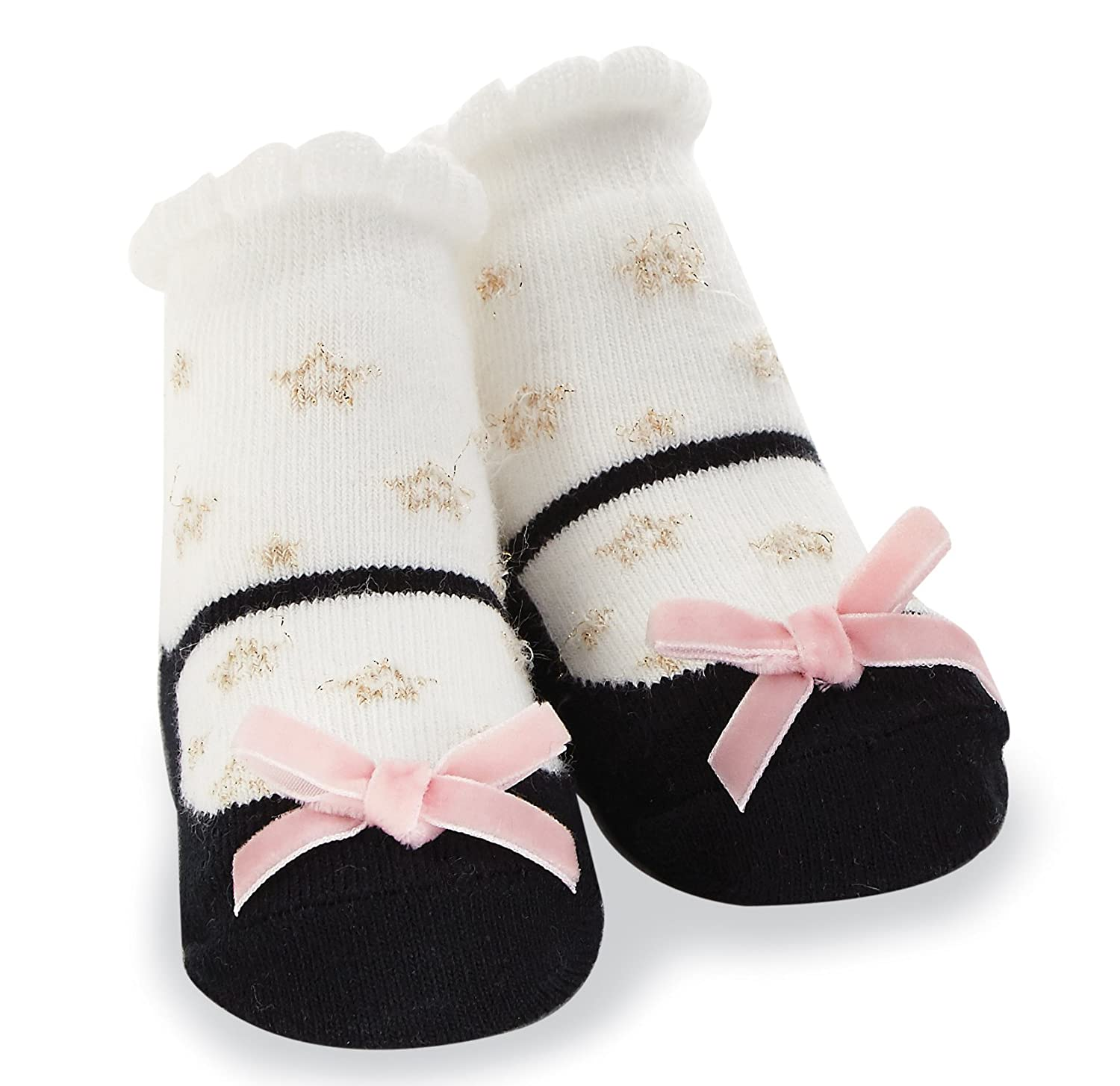 0-12 Months Mud Pie Baby Girl Infant Black and White Gold Star Socks
