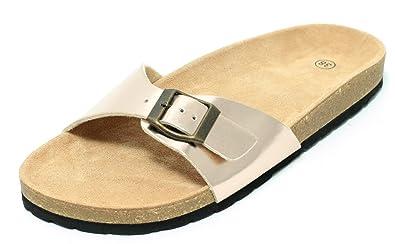 weltweit bekannt auf Füßen Aufnahmen von schönes Design Damen Bio Clogs Pantolette Sandale Slipper Tieffußbett Rosegold METALLIC  Gold Gr. 37–41
