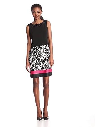 Anne Klein Women's Jersey Scarf Print Dress, Black, 10