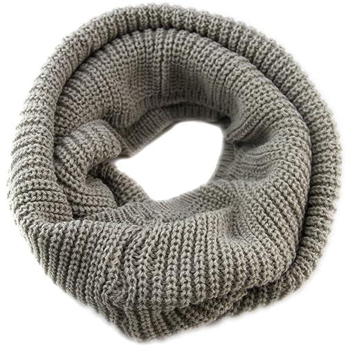 Butterme Unisex Hecho A Mano Invierno Cálido Snood Bufanda Loop Thick Crochet Círculo Tricotado Bufandas Infinity(Gris claro)