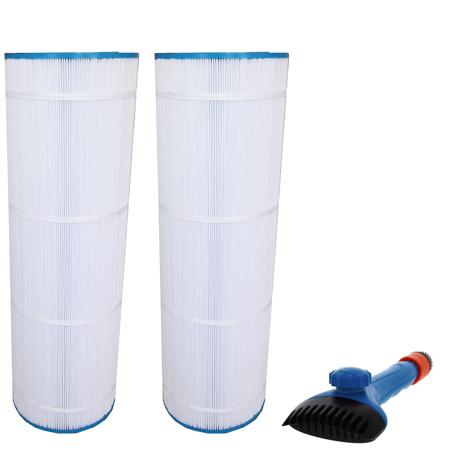 Pleatco PA175 Waterway Pro Clean 175 Comparable Replacement Pool Filter Cartridge 2-Pack Bundle with Tier1 Wand Brush Filter Cl C1900RE StarClear Plus C8417 Filbur FC-1294 Tier1 Hayward CX1750RE