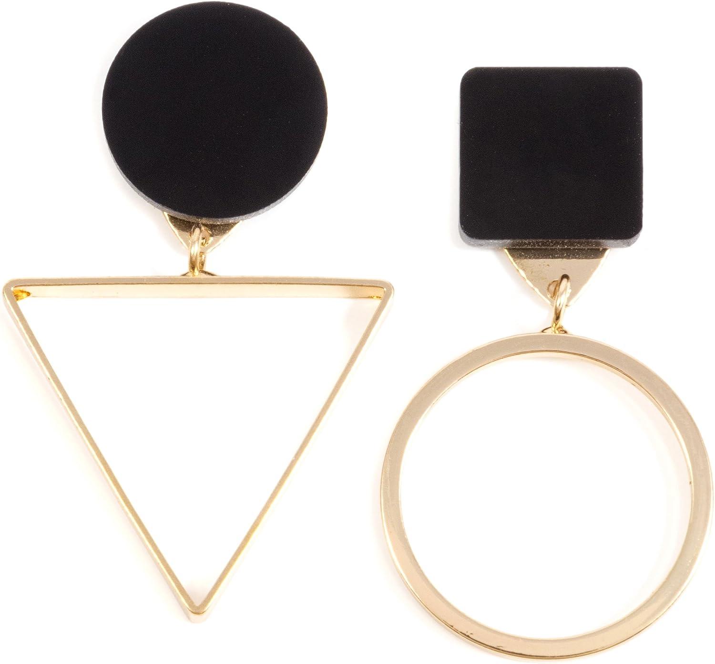 Happiness Boutique Damas Pendientes Asimétricos en Negro y Dorado   Pendientes Geométricos con Triángulo y Círculo: Happiness Boutique: Amazon.es: Joyería