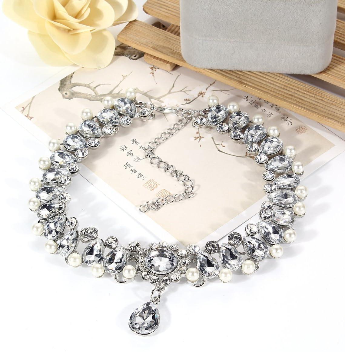 Mingjun Diamond cuello Rhinestone gargantilla collar colgante el/ástico ajustable collar para mujer chica Lady