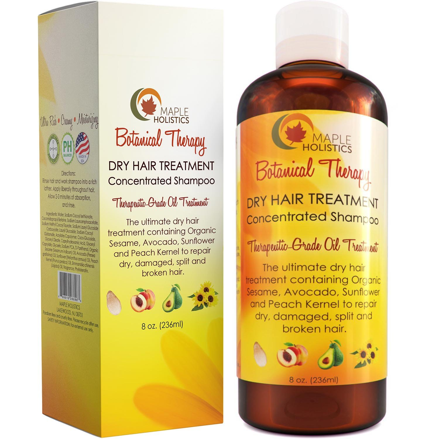 Moisturizing Shampoo for Dry Damaged Hair + Scalp - Anti Frizz Deep Conditioning Cleanser - Strengthen + Repair Hair