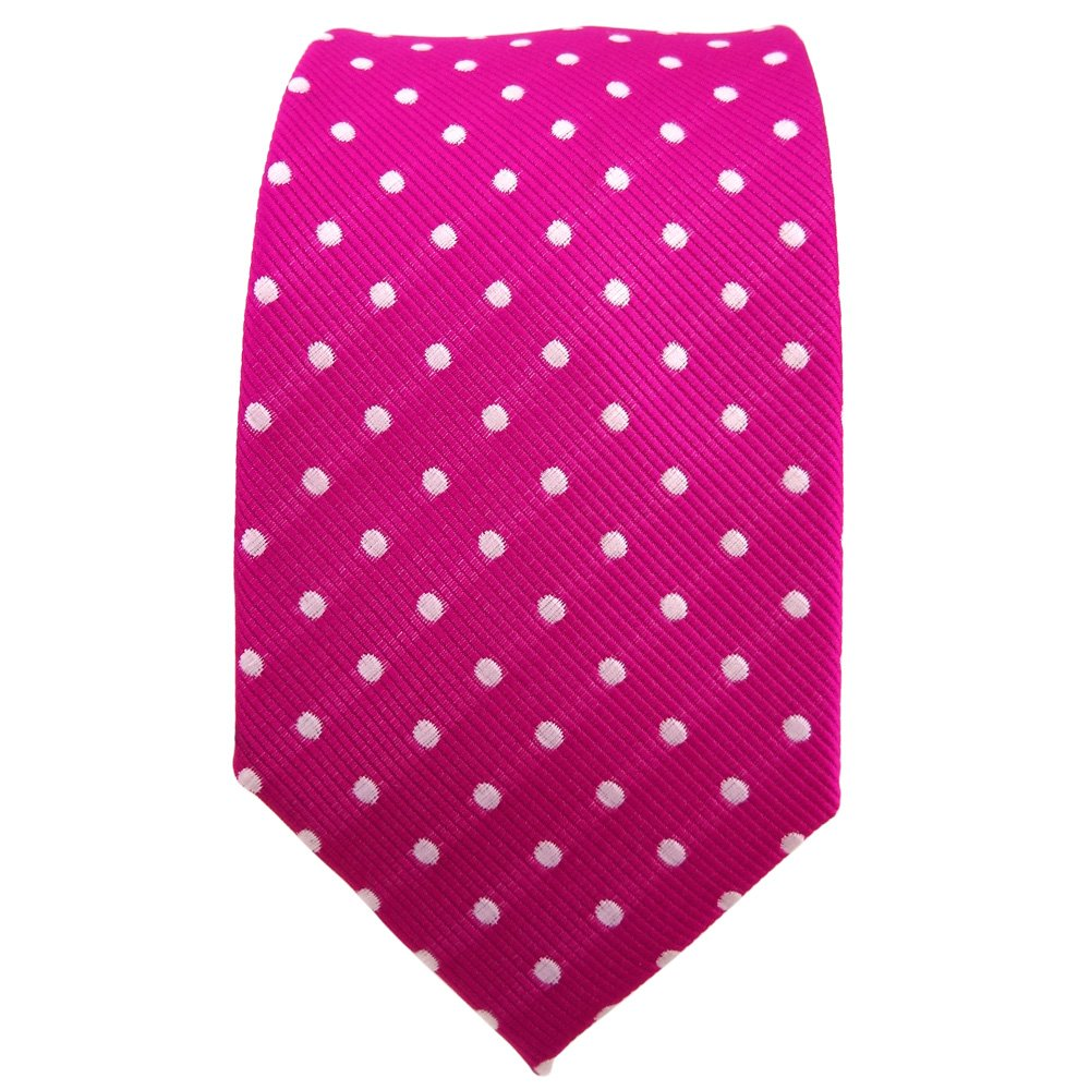 TigerTie - corbata estrecha - magenta fuchsia plata lunares ...