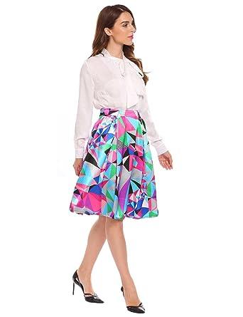 Keland Falda Plisada Estampado Floral Falda de Playa Cintura Alta ...