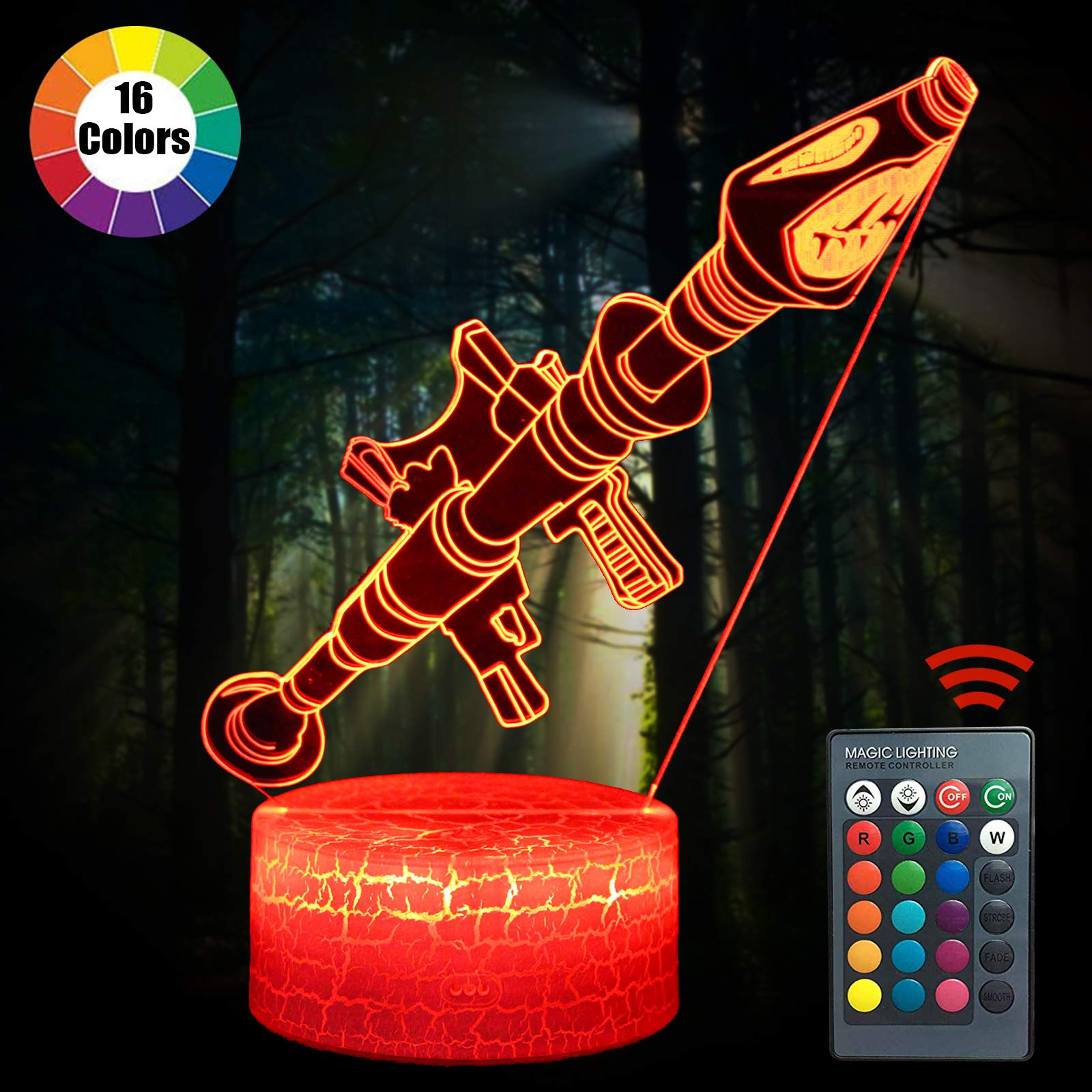 Fortress Night Light Rokter Launcher Changeable USB Touch LED Lamp Lights Lampada 3D Visual Bulbing lampen Children's Room Decor Holiday Light (Rokter Launcher)