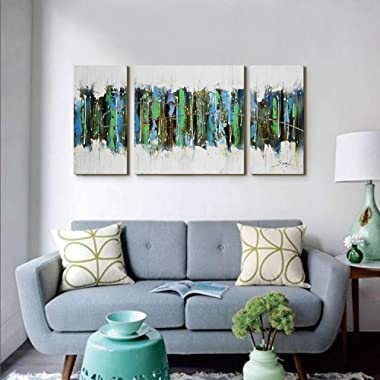 Large 3 Pieces Canvas Wall Art for Living Room 24x48inches Modern Hand Painted Framed Abstract Oil Painting for Bedroom,Dinning Room Decor Green Forest Gallery-Wrapped Office Wall Art Ready to Hang