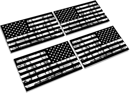 Creatrill Reflective Distressed Full Color American Flags Decal 2 Pairs 3x5 in Hard Hat or Lunch Box Tactical Military Tattered USA Flag Stickers for Cars and Trucks