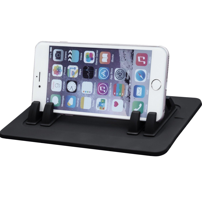 EReach, supporto da auto per telefonini, tappetino in silicone antiscivolo per supporto per auto per Samsung S7/S6, iPhone 4S/5/5S/6/6S plus, supporto per smartphone di tutte le dimensioni e GPS TS030