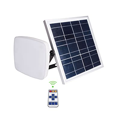 SHANGBOYI Solar Flood Light, 8W LED Dimmable Waterproof IP65 Square Security Floodlight with Remote Control for Outdoor, Garden, Yard, Patio, Swimming Pool, Barbeque and Party Lighting