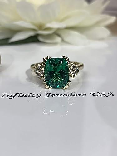 Amazon Com Elongated Cushion Cut Green Emerald With Diamond Accents