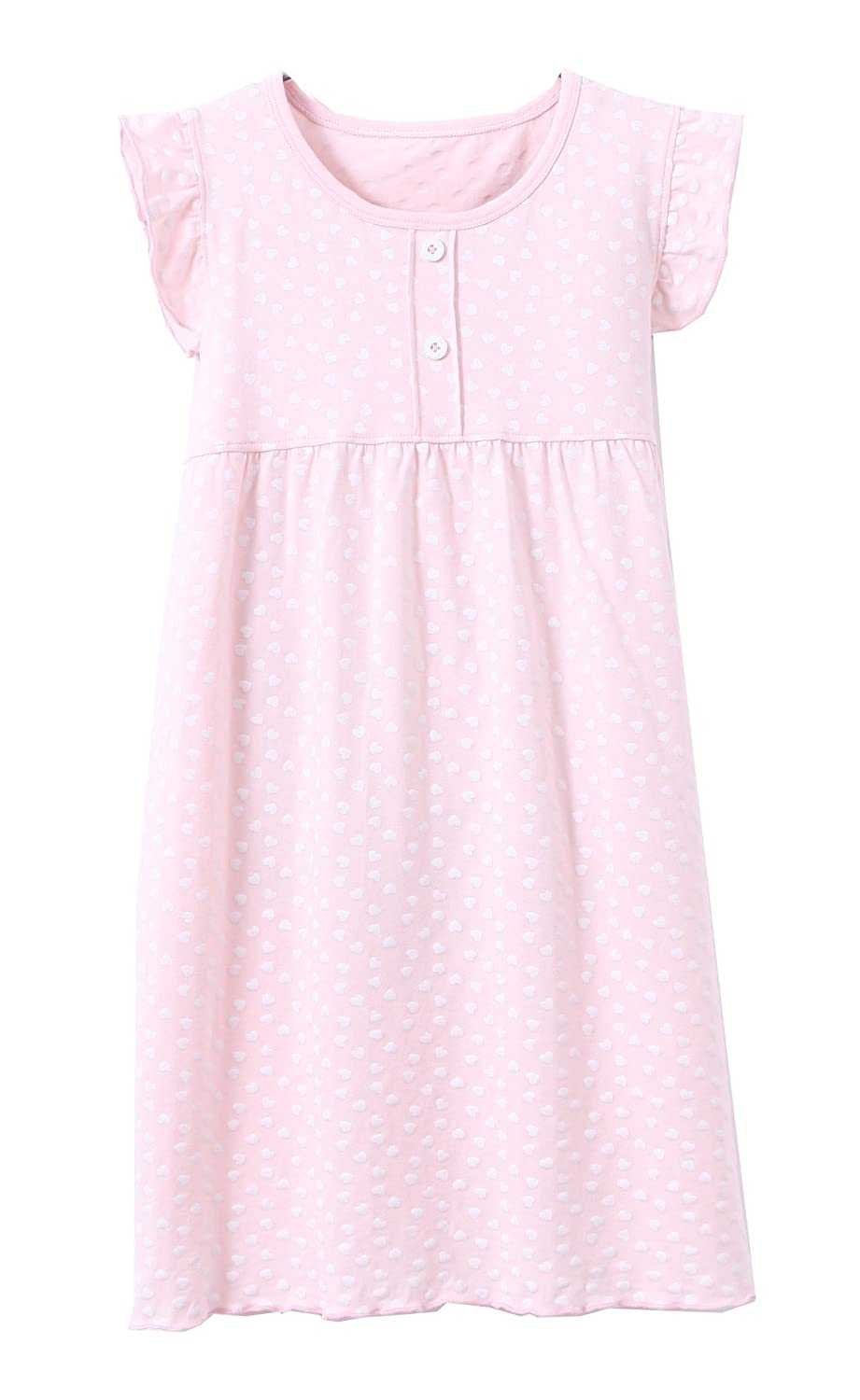 ABClothing Cotton Girls' Ruffle Sleeve Sleep Gown 2-12 Years Old Pink & White