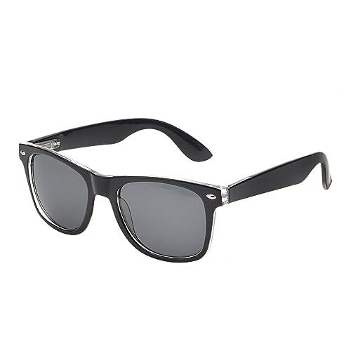 84d4be927 Retro Mirror Sunglasses Reflective Lens Spring Hinge Eyeglasses Men Women  (Black & Transparent/Grey