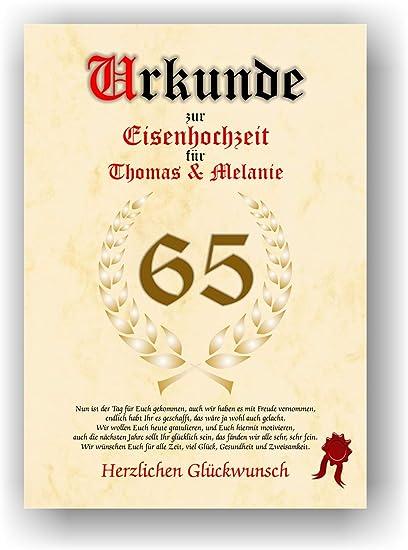 65 Anniversario Di Matrimonio.Certificato 65 Biglietto Di Auguri Per Anniversario Di Matrimonio