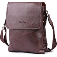 AlexVyan Stylish Genuine Leather Casual Brown Men and Women Girl Boy Make Up Bag Shoulder Bag Traveler Bag Messenger and Sling Bag 9.5 Inch Long 2 Outer Pocket