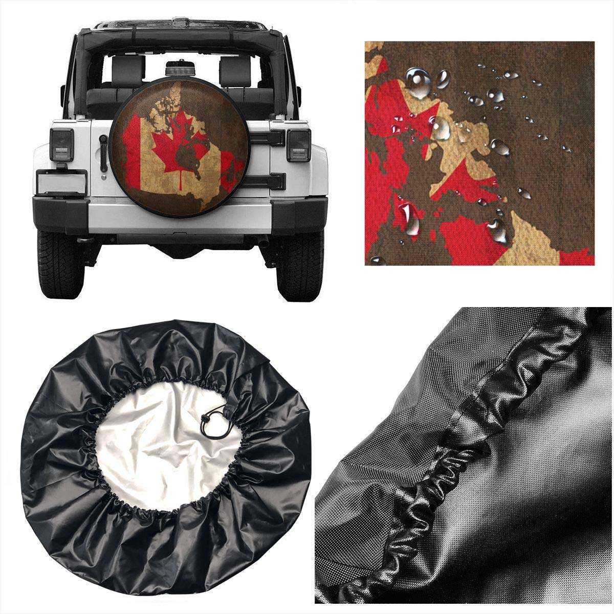 RV Canada Flag Map Retro Spare Wheel Tire Cover Waterproof Dust-Proof Fit for Trailer SUV and Many Vehicle 14 15 16 17
