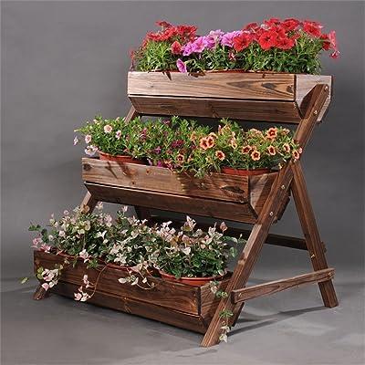 3 étagères en bois massif étagé fleur/Stand antiseptique mode pot de fleur présentoir pour balcon salon jardin