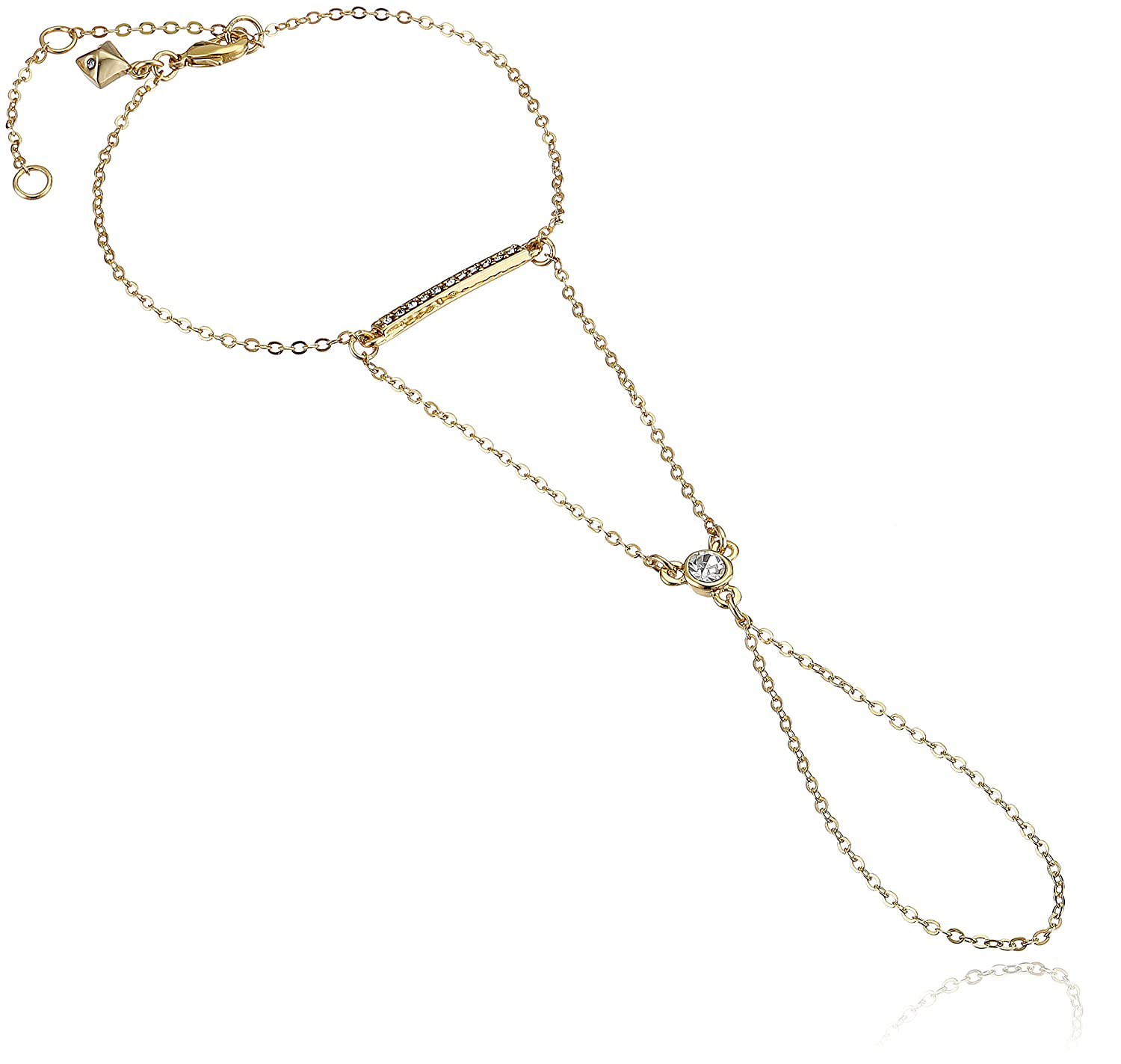 Rebecca Minkoff Core Gold Crystal Hand Chain Body Jewelry, 6.5 + 2 Extender 6.5 + 2 Extender Rebecca Minkoff Jewelry 501579RM