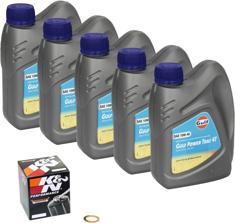 Gulf Power Trac 10w 40 Ölwechsel Set Yamaha Xv 1900 Midnight Star Bj 06 10 Motoröl K N Ölfilter Und Dichtring Auto