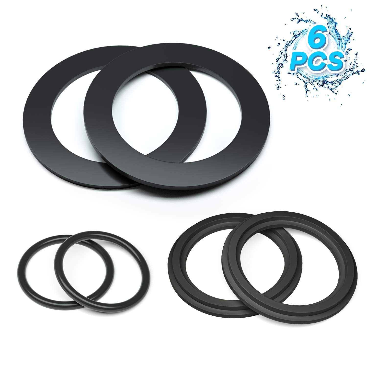HENMI 25076RP Washer and Ring Kit for 1-1/2in Fittings, O-Ring Rubber Washer for Intex Pool Plunger Valves and Intex Replacement Gasket (6 pcs) - 10745, 10262 and 10255