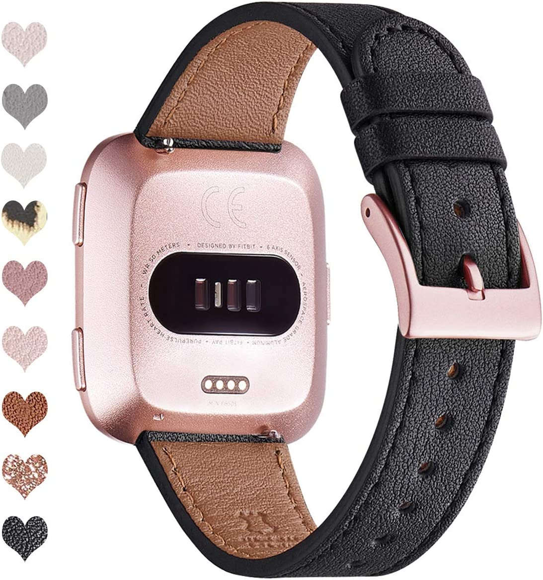 OMIU Bands Compatible with Fitbit Versa/Versa 2/Versa Lite/Versa SE for Women and Men, Classic Soft Leather Strap Replacement Wristband for Fitbit Versa Smart Fitness Watch (Black/Rose Gold)