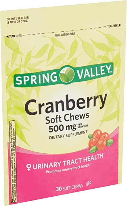 Spring Valley Natural Cranberry 500 Mg Soft Chews (Pack of 2) 60 Chews Total