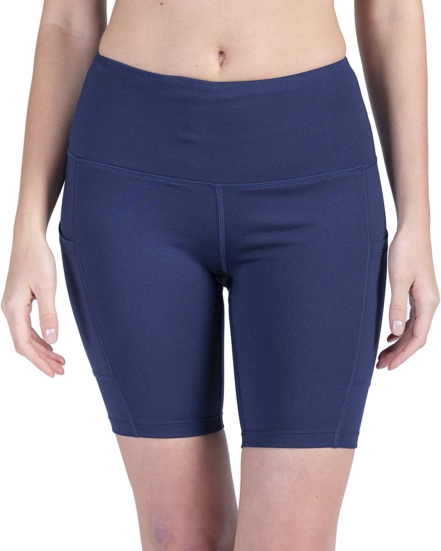Womens High Waist Yoga Short 8 Compression Tummy Control Workout Running Stretch Shorts Side Pockets