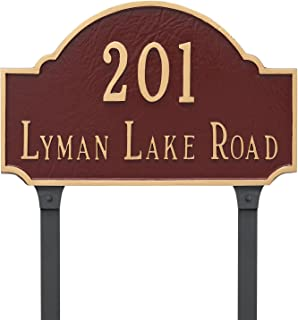 "product image for Montague Metal Fitzgerald Estate Two Line Address Sign Plaque with Lawn Stakes, 16"" x 26.5"", Brick Red/Silver"