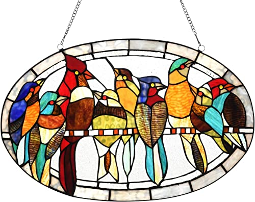 Capulina Stained Glass Window Hanging, Handcrafted Timeless Functional Art, 9 Birds in Color Glass Suncacthers for Windows Treatments with Chain – Abstract Art Style W23.5 x H15 inches