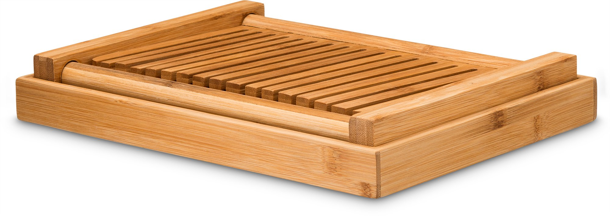 Bamboo Foldable Bread Slicer With Crumb Catcher Tray For