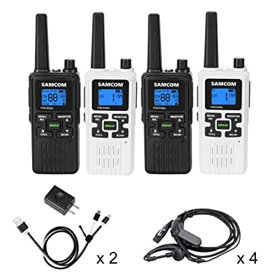 SAMCOM FWCN30A Two Way Radio 22 Channels with NOAA Weather Alert, Rechargeable Handheld FRS Walkie Talkie with Flashlight/LCD Display/Call Tone/Group (4 Packs) (Black/White): Car Electronics