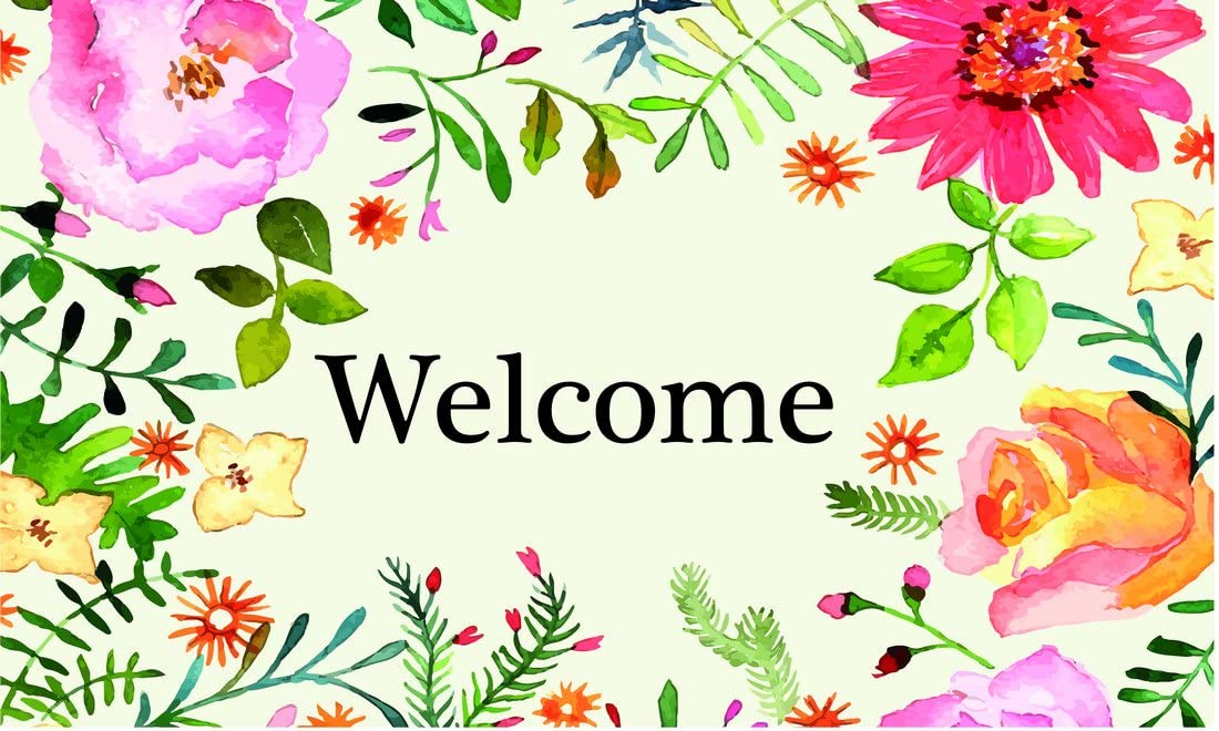 Gift Company Doormat Welcome Flowers, Coconut, Colorful, 75 x 2 x 45 cm: Amazon.co.uk: Kitchen & Home